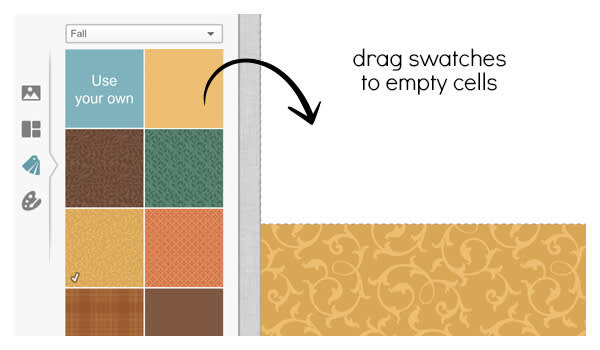 Drag a swatch into a collage cell for step two of your DIY place cards.