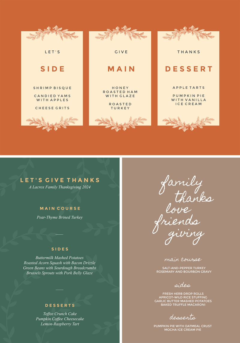 Make customized Thanksgiving printables (like menus and place cards) with PicMonkey's templates.