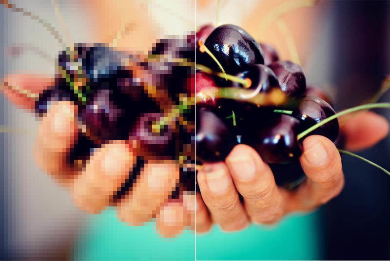 Avoid blurry, pixelated images (like this one of a handful of cherries) by considering resolution while editing your photos.