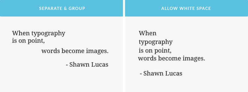 Typographic hierarchy: examples of grouping and use of white space.