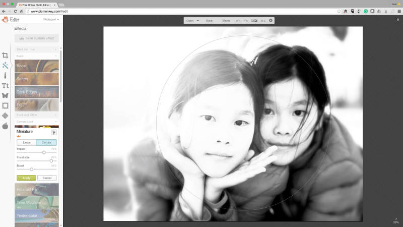 PicMonkey's Miniature Effect can add extra style to your black and white portraits.