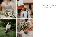 Wedding-themed photo calendar creator daily template at PicMonkey