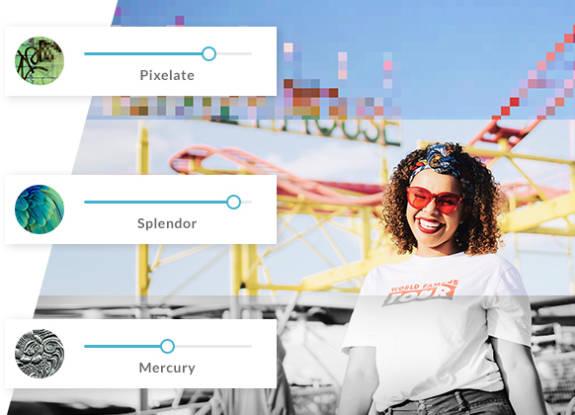 mujer riendo con diferentes efectos fotográficos