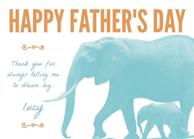 Father's Day card template from PicMonkey featuring two elephants.