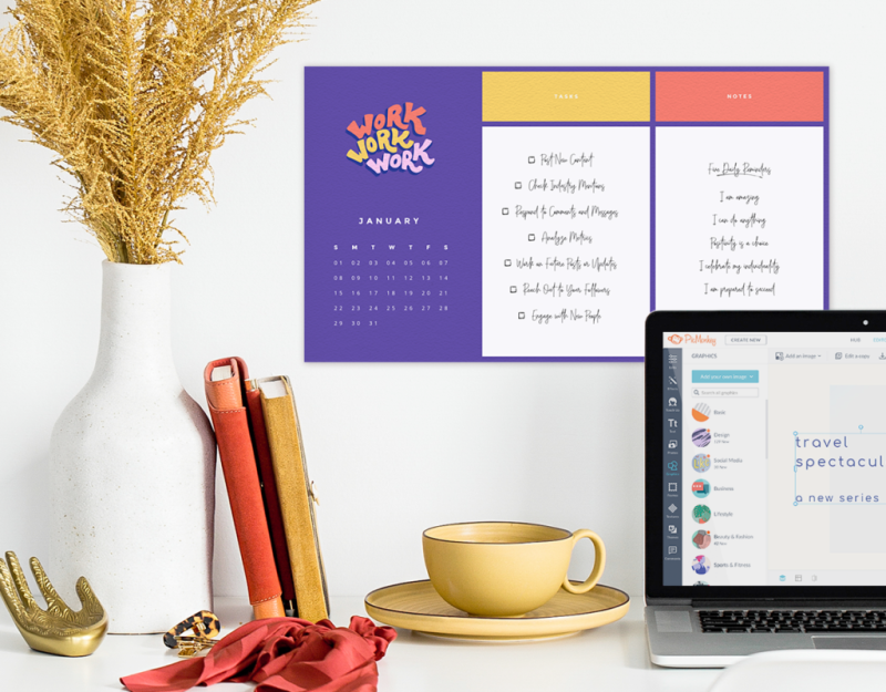 Keep track of all your work assignments with a calendar template.