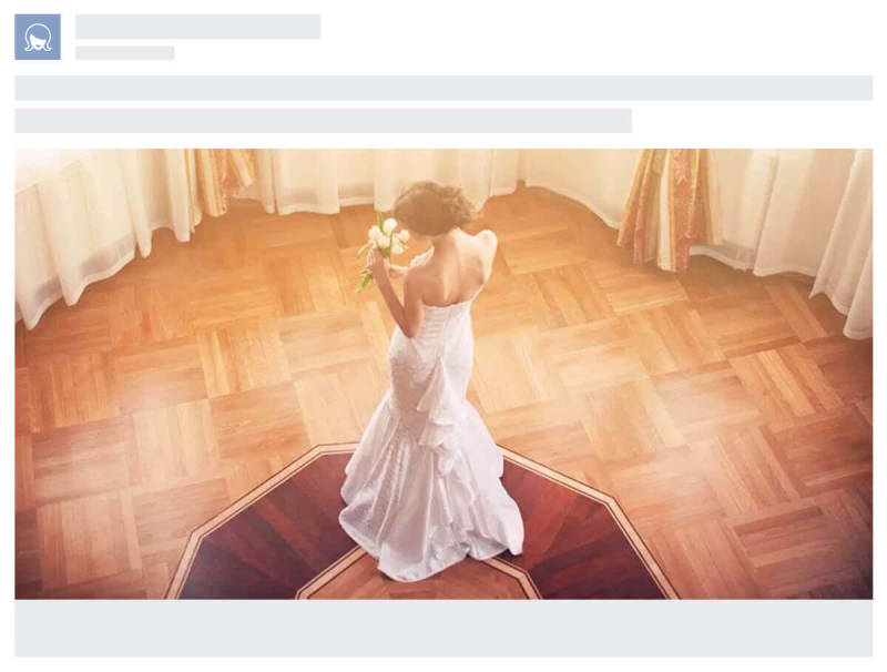 An example of a Facebook ad for an imaginary bridal company.