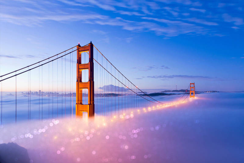 Play up image elements (like the fog under the Golden Gate Bridge in this pic) by adding bokeh effects with PicMonkey.