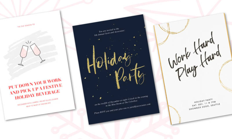 holiday work party invitations