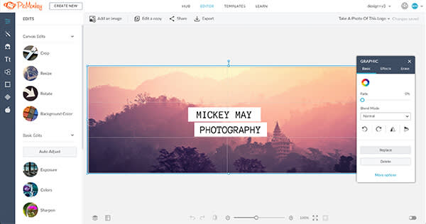 A Facebook cover template, in the editor, with the graphics palette open.