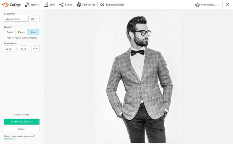 Black and white photo of a dapper man being saved to a computer with PicMonkey.