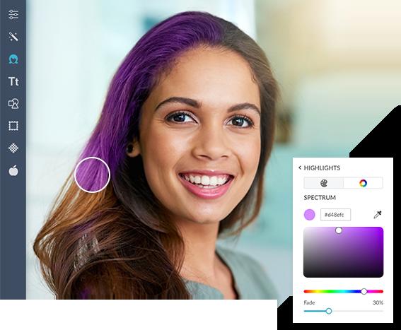 herramientas de maquillaje y herramientas de edición de fotos de color de cabello