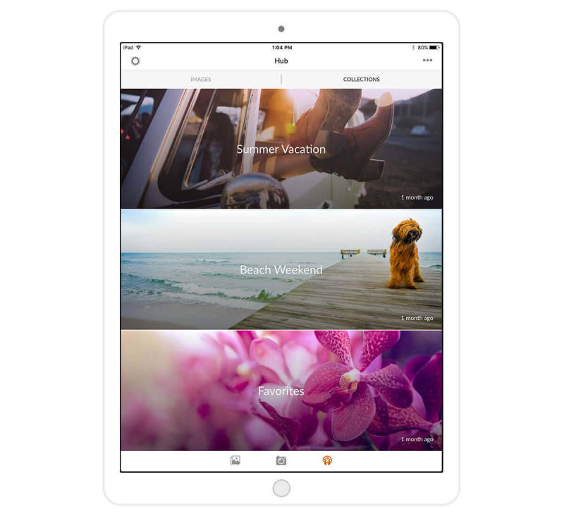 PicMonkey's Folders feature lets you organize photos with ease. Here, it's shown on an iPad.