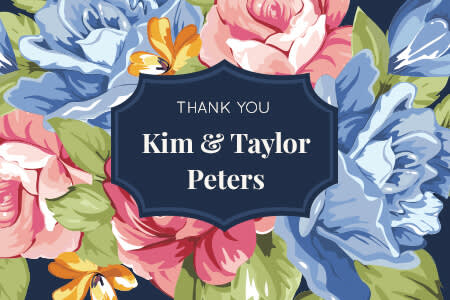 Wedding graphic design: floral thank-you card with label graphic.