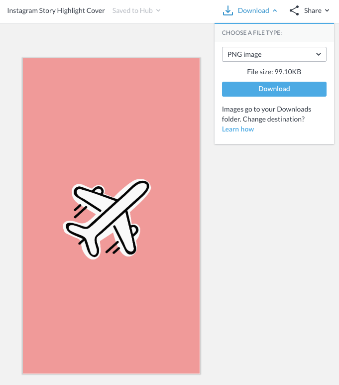export your instagram story cover to upload to instagram