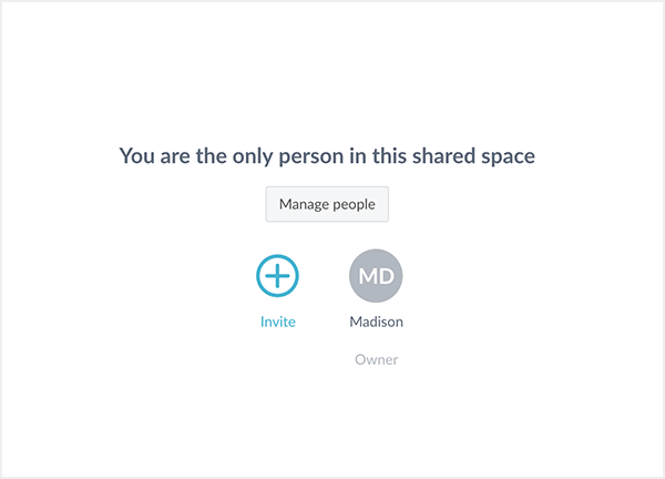 Invite users to a shared space