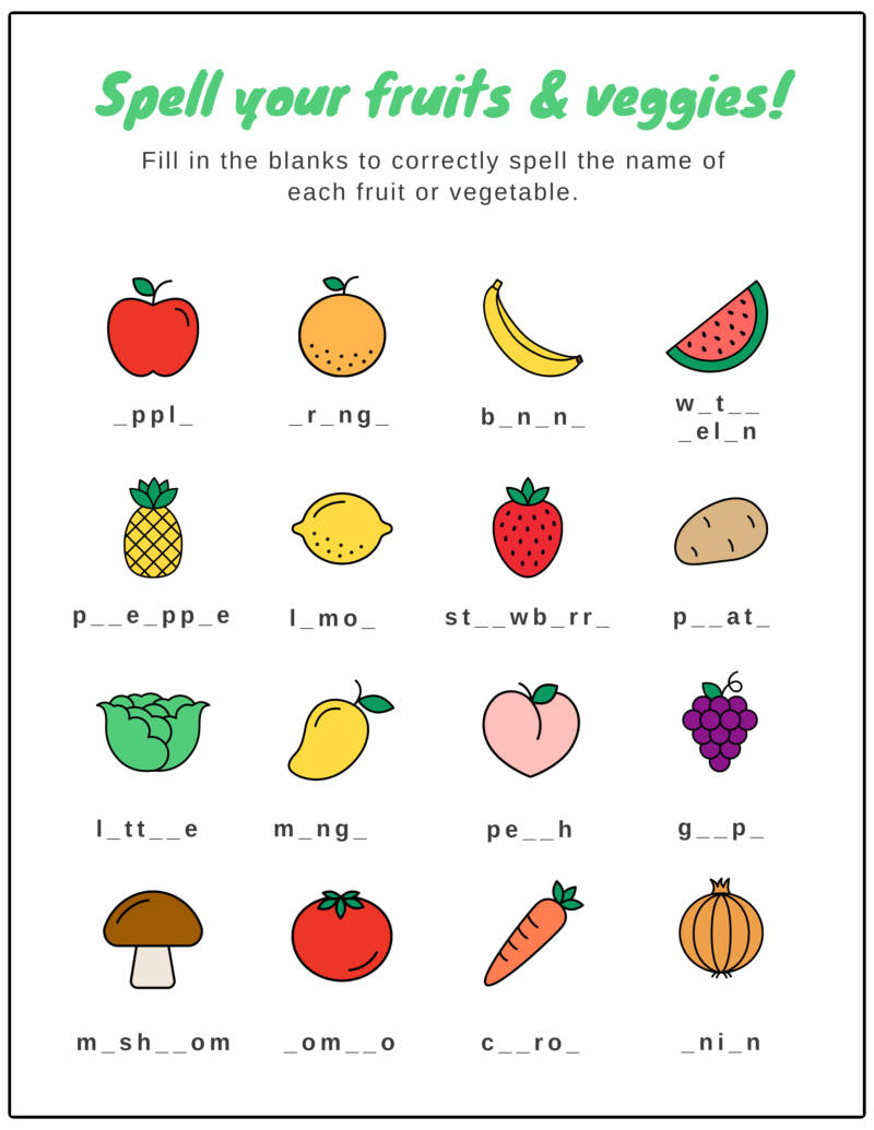worksheet fruit matching outline