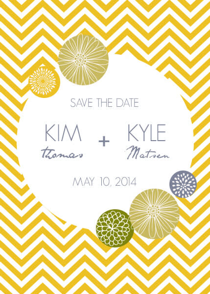 Wedding graphic design: a modern save-the-date card.