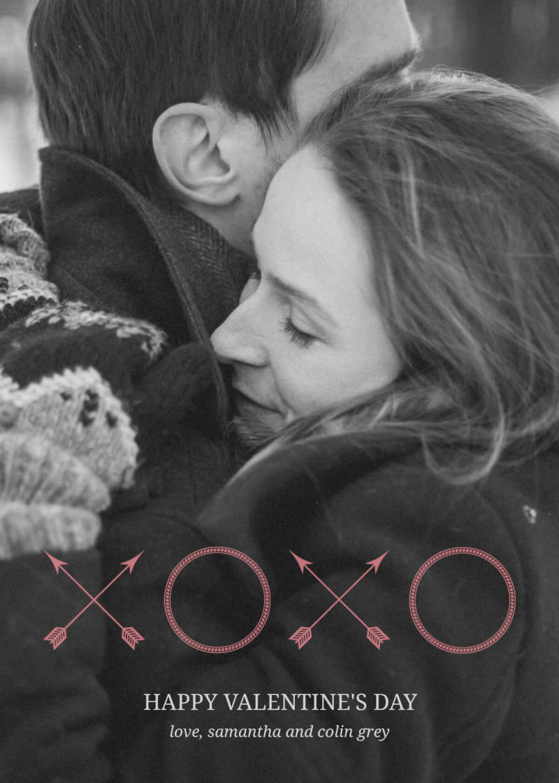 PicMonkey has a variety of Valentine's Day card templates, like this black and white photo of two lovers. Add your own Valentine's Day messages for a personal touch.