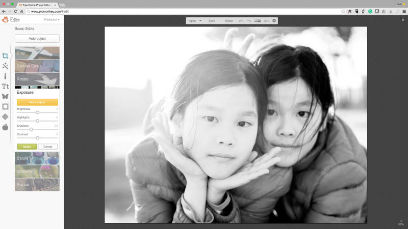 Adjust the exposure of your black and white portraits with PicMonkey's exposure tool.