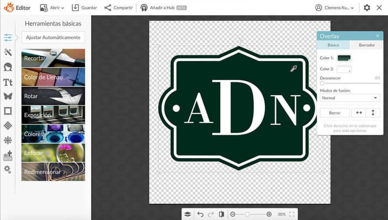 Usando el selector de colores para personalizar un monograma.