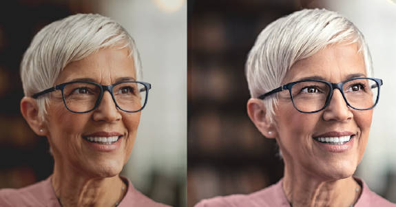 before and after photos of a lightly touched up portrait of an older woman with glasses and short white hair
