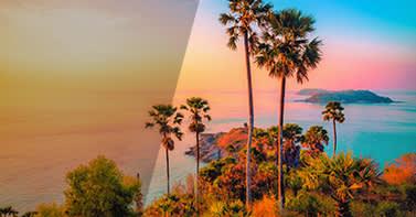 foto de puesta de sol tropical con efectos de mejora antes y después