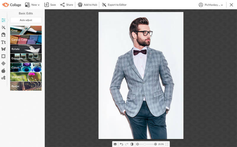 Photo of a dapper man opened in PicMonkey for editing.