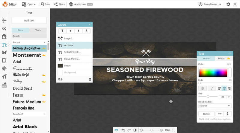 PicMonkey, Templates, Hub, Lumberjack, Unified Branding, Facebook Cover, Editor