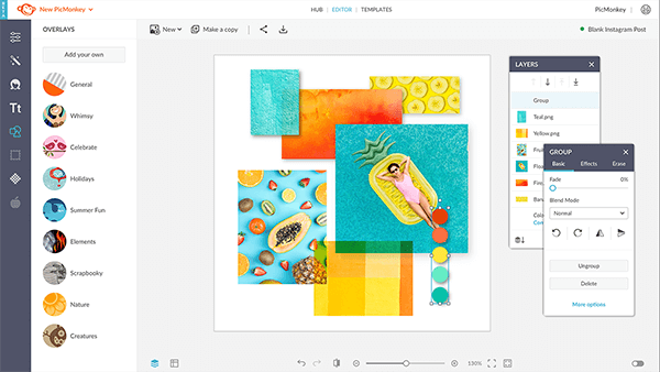 You can combine multiple design elements into a single group using the features in PicMonkey.
