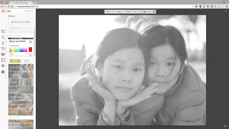 Convert your color portraits to black and white with PicMonkey's tools and effects.