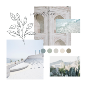 mood board template with blue and taupe color scheme