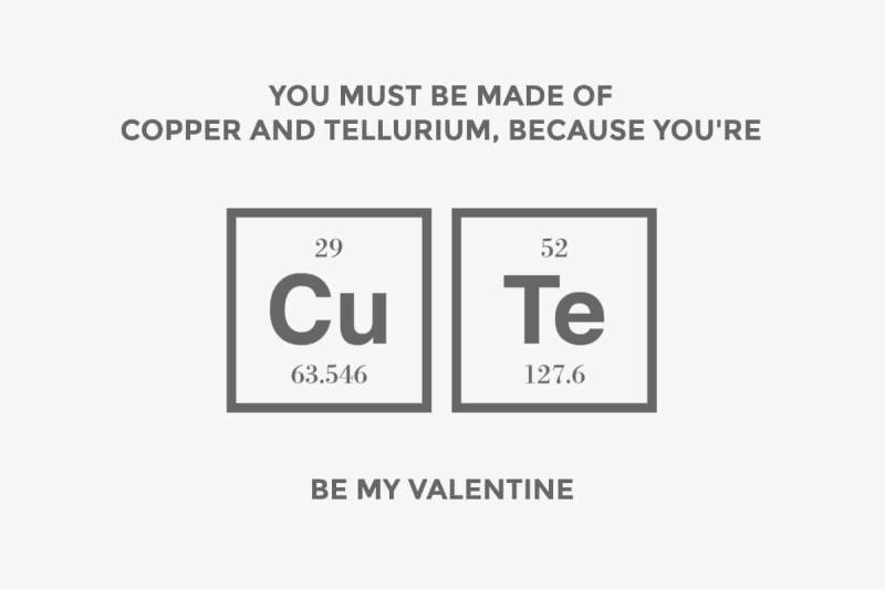 Funny Valentine's Day card for science fans.