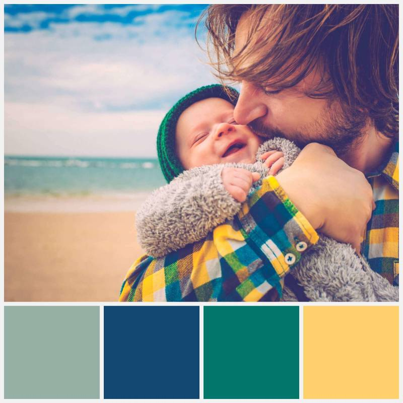 Create a color palette from a photo (like this one with a father and baby on a beach) using PicMonkey's tools.