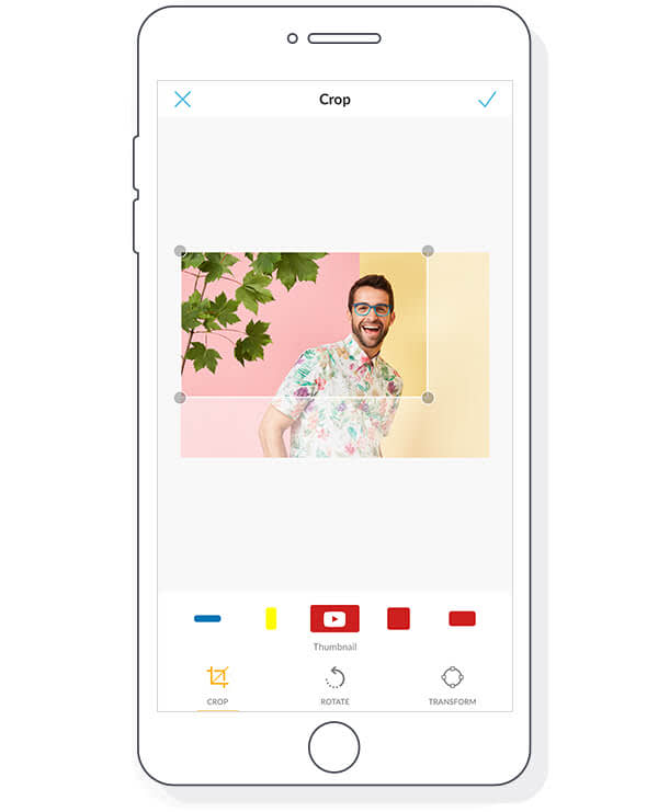 Manually crop on PicMonkey Mobile, or select one of the social media templates for a perfect fit.