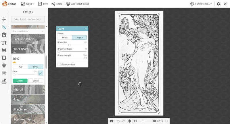 Use Tri-X on your coloring book pages to remove midtones.