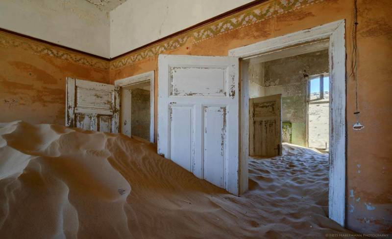 Interior of a building in Kolmanskop, the abandoned mining town. Namibia photos taken by Frits Habermann.