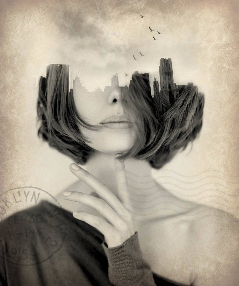 Digital collages with a double exposure look are oh-so trendy.