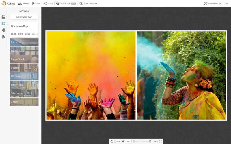 Choosing and adjusting your collage layout