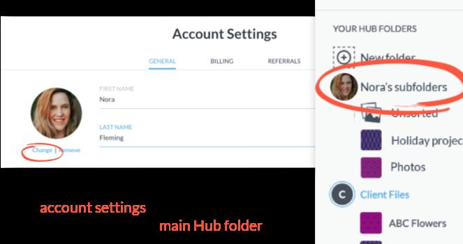 profile image as main hub folder icon