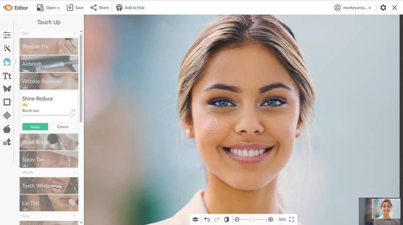 shine reduce, touch up, photo retouching, photo editing, picmonkey