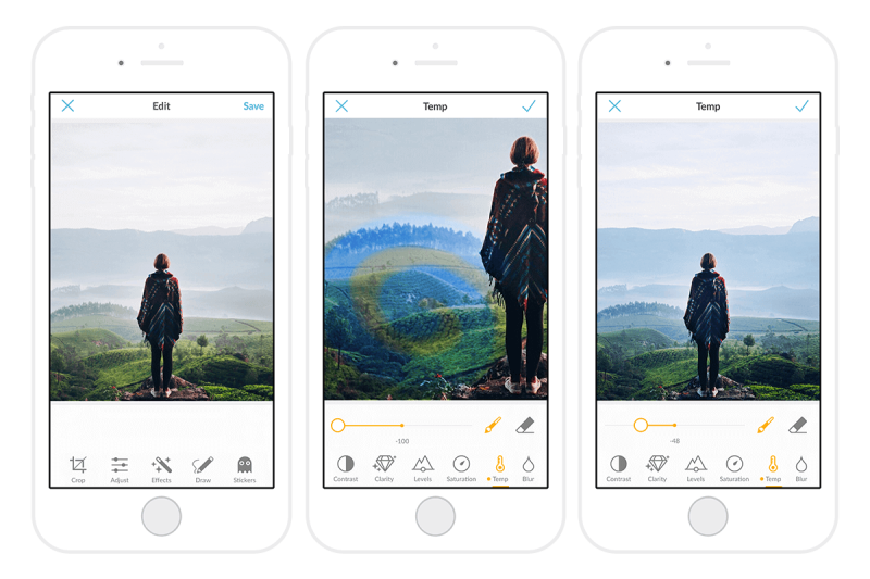 Paint-on adjustments, adjustments, mobile, mobile app, picmonkey mobile, update