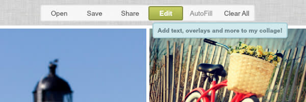A screen shot of the new Edit button in PicMonkey's Collage maker.