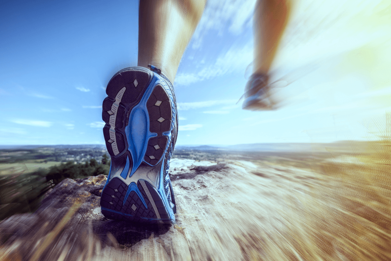 A running shoe with a blurred background, made with PicMonkey's Focal Zoom effect.