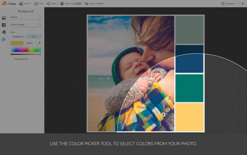 Use the color picker in PicMonkey to make a custom color palette from your favorite photo.