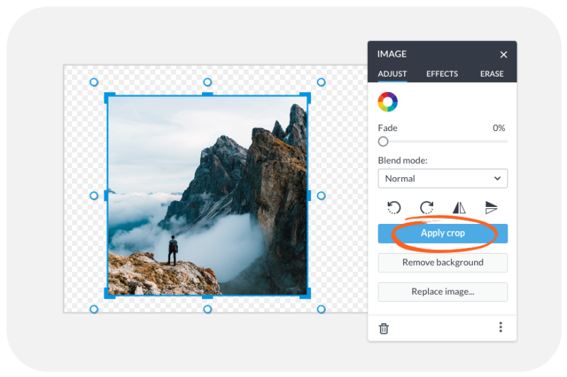 crop on the image palette UI