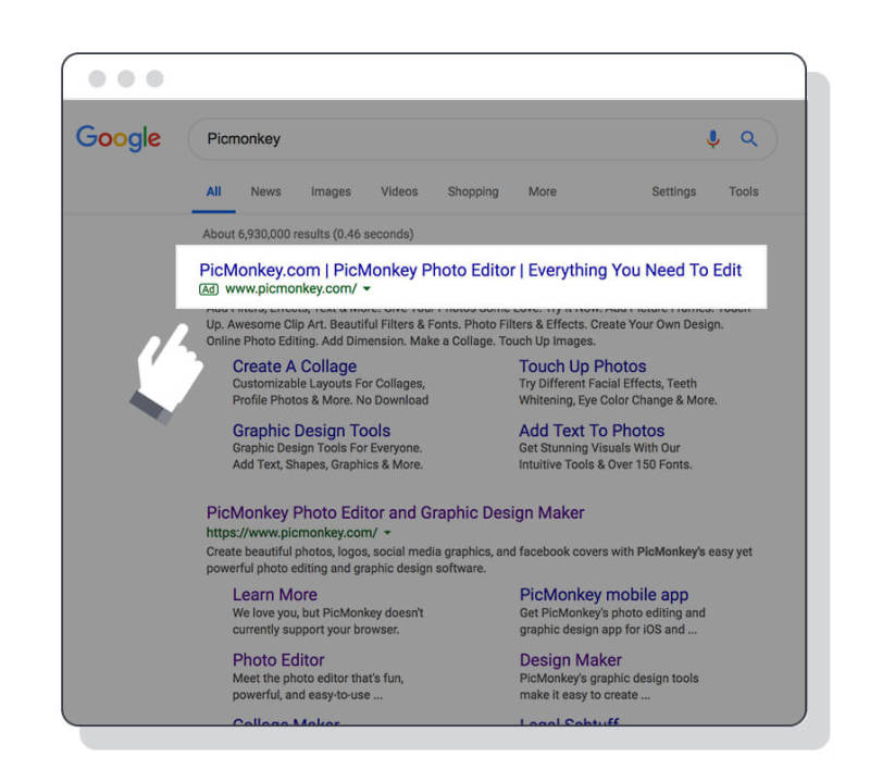 Example of a search ad that shows up in search results