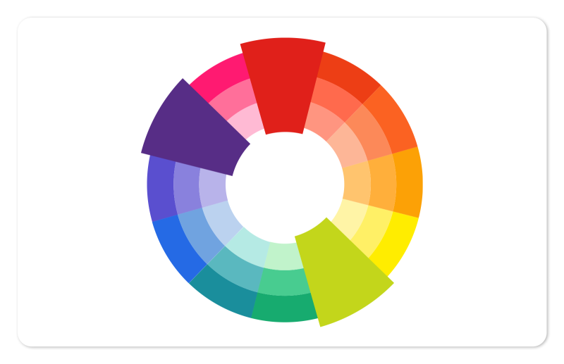 split complementary colors on the color wheel