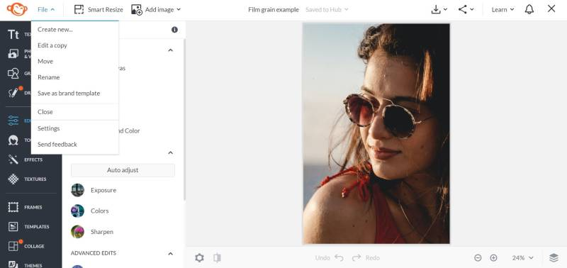 Start a new project in PicMonkey's editor