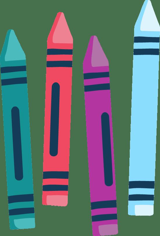 Drawn Colorful Crayons