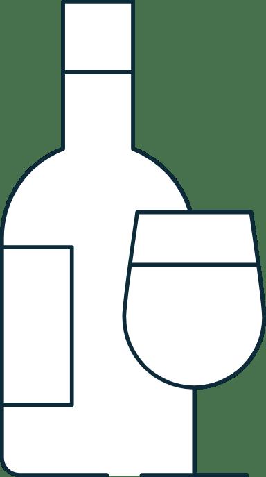 Sparse Wine Bottle & Glass